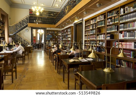 BUDAPEST, HUNGARY - JULY 7, 2011: Library of ELTE Faculty of Law. Eotvos Lorand University (ELTE) is the largest and oldest university in Hungary.