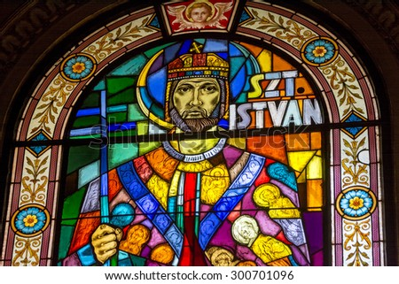 BUDAPEST, HUNGARY, JULY 9, 2015: Stained glass portrait of Szt. Istvan inside St. Stephen's Basilica, Budapest, Hungary. - stock photo