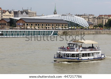 "Budapest, Hungary - JUNE 30, 2016: Art and culture center ""Balna"" (Whale) from Buda side. The building is a project that uses the architecture to create a mixed-use living space"