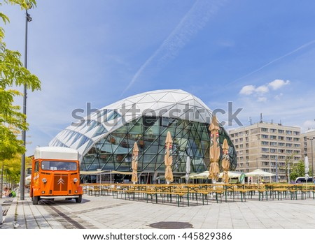 """Budapest, Hungary - JUNE 30, 2016: Modern building """"Balna"""" (Whale) in the Budapest, Hungary. The building is a project that uses the architecture to create a mixed-use living space - stock photo"""
