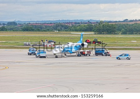 BUDAPEST, HUNGARY-JUNE 13: Preparation  aircraft for flight and airport of Budapest, Hungary, June 13,2012.Airport F.Liszt serving Hungarian capital, largest of five international airports in country.