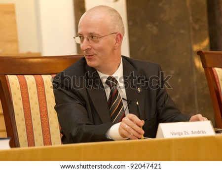 BUDAPEST, HUNGARY - JUNE 10: Varga Zs. Andras Vice President of Chief Prosecutor's Office of Hungary on the Conference about the Amendment to the Constitution on June 10, 2011 in Budapest, Hungary.