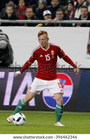 BUDAPEST, HUNGARY - MARCH 26, 2016: Hungarian Laszlo Kleinheisler is with the ball during Hungary vs. Croatia international friendly football match in Groupama Arena.