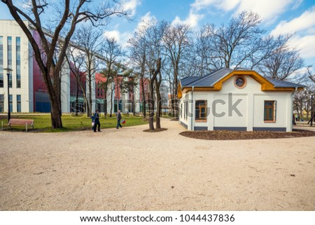 BUDAPEST, HUNGARY - MARCH 11, 2018: New campus of National University of public Service, established in 2012, it is one of the youngest  universities in Central and Eastern Europe
