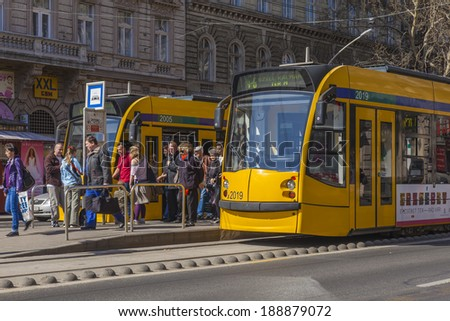 Budapest, Hungary, March 21, 2014 . Urban trams are at a stop