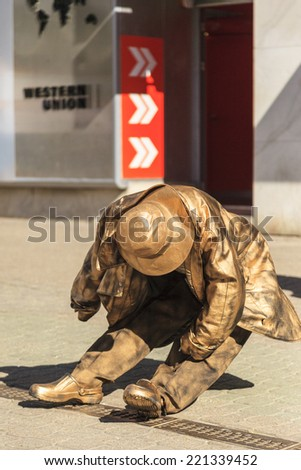 BUDAPEST, HUNGARY MAY 7 2014 A Golden Human Statue displayed  in Budapest during spring festival. People are increasingly visiting Budapest for its beauty, and hospitality. - stock photo