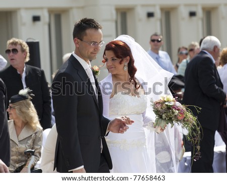BUDAPEST, HUNGARY - MAY 21: Antal Rogan, vice president of FIDESZ party, major of Budapest's city celebrates the wedding of Tamas Tabori, director of Vodafone on May 21, 2011 in Budapest, Hungary.