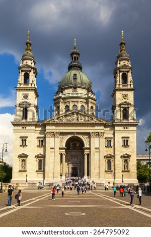 BUDAPEST, HUNGARY - MAY 11: Exterior of St. Stephen's Basilica on May 11, 2014 in Budapest, Hungary. The Basilica is named in honor of Stephen - first King of Hungary. - stock photo