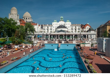 Budapest, Hungary, May 11, 2012. Gellert thermal baths in Budapest. Gellert Medicinal Bath is the most exclusive bath in Budapest. - stock photo