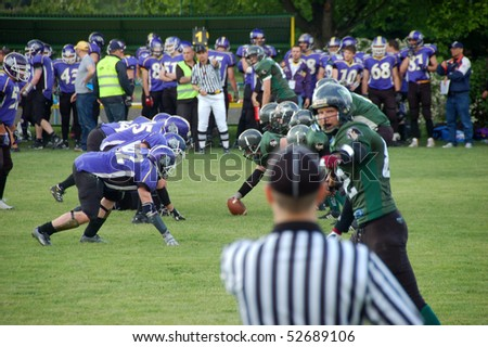 BUDAPEST, HUNGARY - MAY 09: Hungarian American Football Teams, Ujpest Bulldogs vs. Ujbuda Rebels on May 9, 2010 in Budapest, Hungary. Rebels won 46-2.