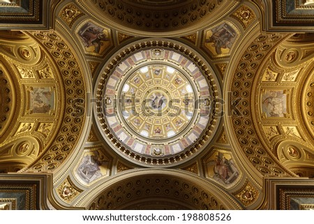 BUDAPEST, HUNGARY - 5 MAY 2014: Inside St. Stephen Cathedral. The church was built in Neo-Classic style, but with Neo-Renaissance dome, between 1851 and 1905. Largest church in Budapest Hungary.  - stock photo