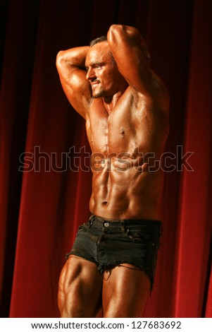 BUDAPEST, HUNGARY - MAY 19: Kremer Jozsef participates in Superbody Kupa bodybuilding championship  on May 19, 2007 in Budapest, Hungary