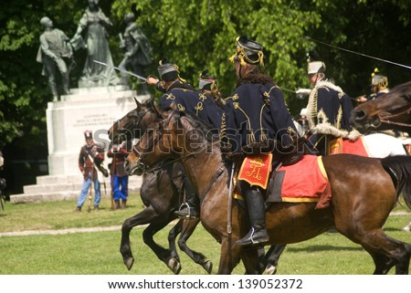 BUDAPEST, HUNGARY - MAY 19 : Ludovika Military Day at May 19, 2013 in Budapest, Hungary. Hungarian hussars in 1848 uprising uniform during the military festival.