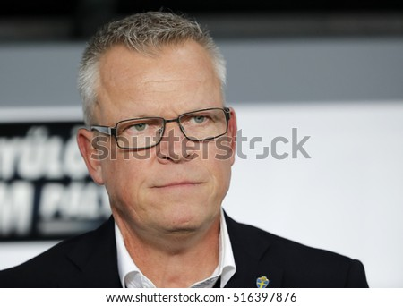 BUDAPEST, HUNGARY - NOVEMBER 15, 2016: Head coach Jan Andersson of Sweden listens to the anthem prior to the Hungary v Sweden friendly game at Groupama Arena.
