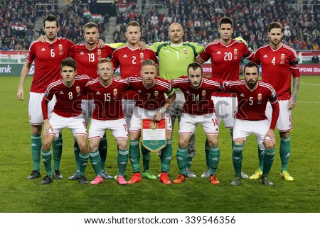 BUDAPEST, HUNGARY - NOVEMBER 15, 2015: Hungarian national team during Hungary vs. Norway UEFA Euro 2016 qualifier play-off football match at Groupama Arena. - stock photo