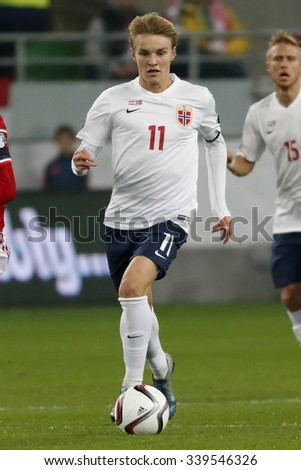 BUDAPEST, HUNGARY - NOVEMBER 15, 2015: Norwegian Martin Odegaard is with the ball during Hungary vs. Norway UEFA Euro 2016 qualifier play-off football match at Groupama Arena.