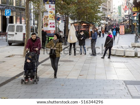 BUDAPEST, HUNGARY - NOVEMBER 15, 2016: People visit Vaci Street in Budapest. 3.3 million people live in Budapest Metropolitan Area. It is the largest city in Hungary and 9th largest in the EU.