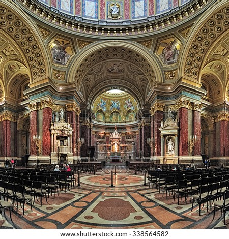 BUDAPEST, HUNGARY - OCTOBER 3, 2015: Interior of St. Stephen's Basilica. It is named in honour of Stephen, the first King of Hungary (c 975-1038), whose supposed right hand is housed in the reliquary.