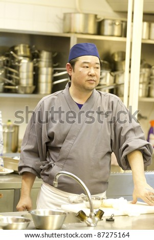 BUDAPEST, HUNGARY - OCTOBER 20: Ito Shinkichi, chef of the Dewa Cloister, presents the culture and food of Japanese monks at the conference of Japan Foundation on October 20, 2011 in Budapest, Hungary.