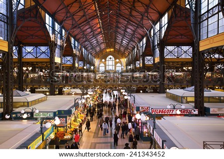 BUDAPEST, HUNGARY - 27 OCTOBER 2014:People shopping in the Great Market Hall on October 27, 2014 in Budapest, Hungary. Great Market Hall is the largest indoor market in Budapest, built in 1896.