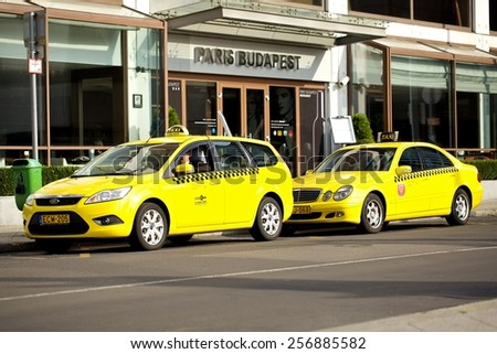 BUDAPEST, HUNGARY - October 07, 2014: Taxi drivers wait in Budapest. There are some 5,300 taxi cabs in Budapest.