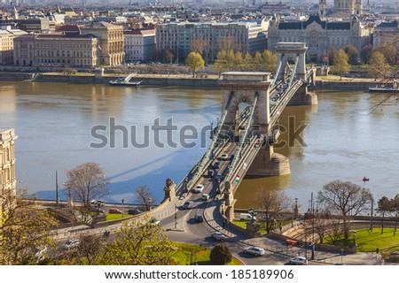 Budapest, Hungary, on March 24, 2014. View of Danube, Chain bridge and Pesht from Buda Castle