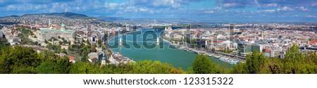 Budapest, Hungary panorama, Danube river. View from Gellert Hill - stock photo