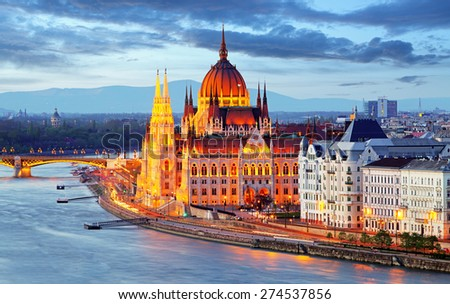 Budapest, Hungary parliament at night - stock photo