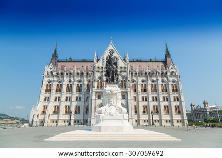 Budapest Hungary, Parliament exterior with rider on horse