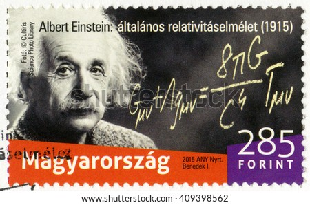 BUDAPEST, HUNGARY - SEPTEMBER 07, 2015: A stamp printed in Hungary shows Albert Einstein (1879-1955), physicist, The 100th Anniversary of the presented the general theory of relativity - stock photo