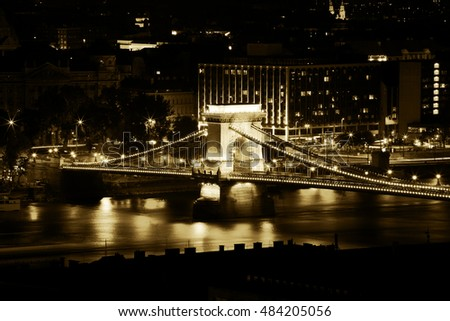 BUDAPEST, HUNGARY - SEPTEMBER 11, 2016: Chain Bridge at night in Budapest with Long Exposure Technique, Hungary