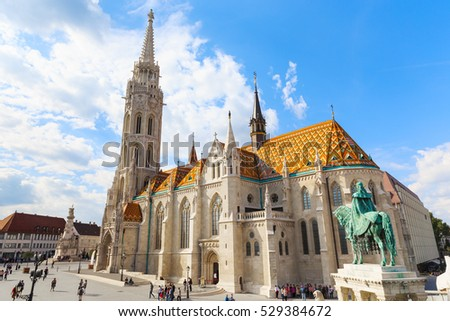 BUDAPEST, HUNGARY - SEPTEMBER 26: Matthias Church and the monument to St. Istvan on September 26, 2016 in Budapest, Hungary.