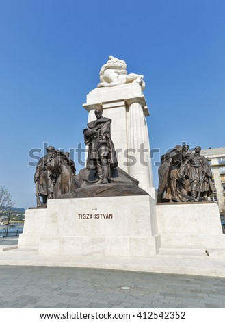 BUDAPEST, HUNGARY - SEPTEMBER 24, 2015: Statue of Istvan Tisza, former prime minister of Hungary. The statue was erected in 1934, damaged during World War II and re-inaugurated on June 9, 2014. - stock photo