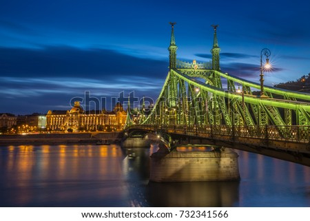Budapest, Hungary - The beautiful Liberty Bridge (Szabadsag hid) at blue hour
