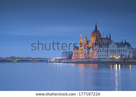 Budapest. Image of hungarian parliament in Budapest during twilight blue hour.