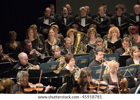 BUDAPEST - JANUARY 30: Duna Symphonic Orchestra and The National Chorus performs on stage at Thalia Theater on January 30, 2010 in Budapest, Hungary.