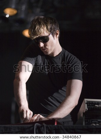 BUDAPEST-JULY 24: Alec Empire performs on stage at SYMA Sport and Event Centre stage July 24, 2009 in Hungary.