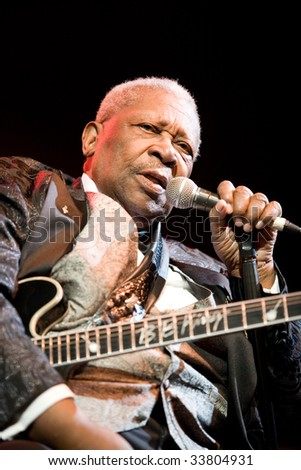 BUDAPEST-JULY 16: Legendary blues guitar player B.B. King in concert at Sportarena  Budapest July 16, 2009 in Budapest, Hungary - stock photo