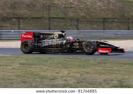 BUDAPEST - JULY 3: Lotus Renault F1 GP car on the Hungaroring race track at World Series by Renault,on July 3, 2011 in Budapest, Hungary - stock photo