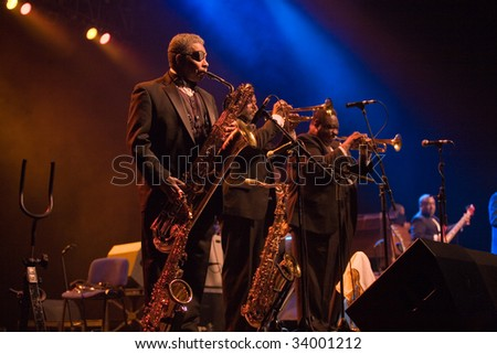 "BUDAPEST-JULY 16: Musicians from the ""B.B. King Band"" perform in concert at Sportarena  Budapest July 16, 2009 in Budapest, Hungary - stock photo"