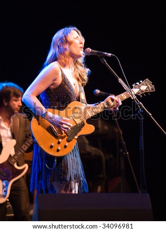 BUDAPEST-JULY 16: Susan Tedeschi performs on stage at Sportarena July 16, 2009 in Budapest, Hungary - stock photo