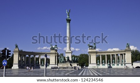 BUDAPEST -  JULY 10: Tourists visit Millennium Monument in Heroes Square on July 10, 2012  in Budapest, Hungary. This square has been UNESCO World Heritage site since 2002.