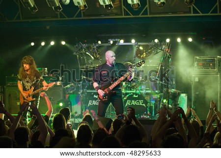 BUDAPEST - MARCH 04: RAGE, German Heavy Metal Band performs on stage at Diesel Club on March 04, 2010 in Budapest, Hungary.