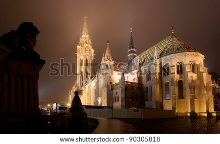Budapest Matthias Church at night