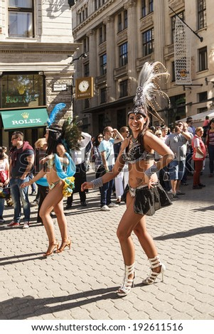 BUDAPEST - MAY 10: Spring Festival Parade where different people celebrated  the warm weather arrival in a Rio Style Parade-while onlookers cheered  along 2014 on May 10, 2014 in Hungary.