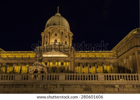 "BUDAPEST MAY10: The imposing Buda Castle at night overlooks the city from its elevated position ""Castle Hill"", above the Danube is a major world wide tourist destination on May 10, 2014 in Budapest.  - stock photo"