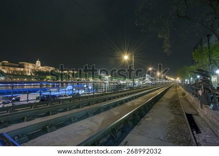 Budapest Night Urban Street Scene near Chain Bridge, Hungary, Europe - stock photo