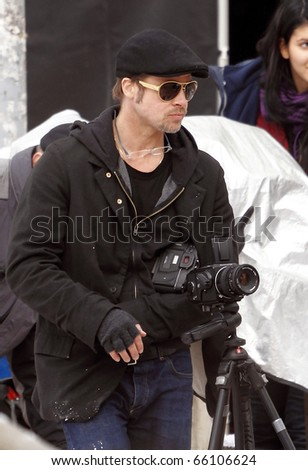 BUDAPEST - NOVEMBER 9: Brad Pitt during Angelina Jolie's movie shooting in 9th District, on 9th November, 2010, in  Budapest, Hungary.
