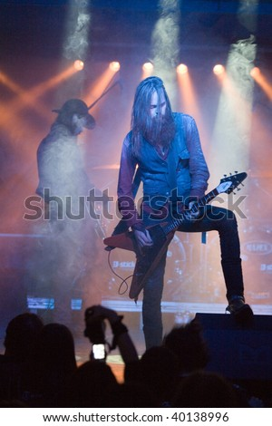 BUDAPEST-OCTOBER 4: Solstafir black metal band performs on stage at Diesel club October 4, 2009 in Budapest, Hungary