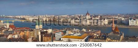 Budapest. Panoramic image of Budapest, capital city of Hungary. - stock photo